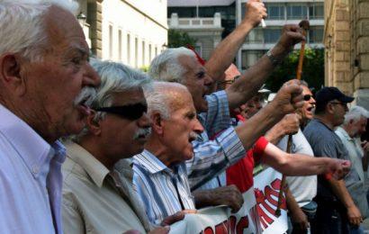 Митинг пенсионеров в центре Афин